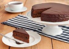 Chocolade sacher cake Royalty-vrije Stock Afbeeldingen