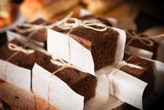 Chocolade smakelijke heerlijke cake Zoete bakkerij Restaurant Stock Fotografie