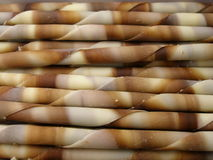 Chocolade sticks. Tasty colorful white and dark chocolate sticks Royalty Free Stock Photo