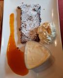 Chocolade tarte met abrikozenroom en vanilleparfait stock foto