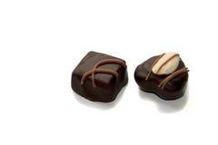 Chocolade twee candys royalty-vrije stock afbeeldingen
