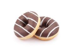 Chocolade twee donuts Royalty-vrije Stock Afbeelding