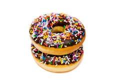 Chocolade twee donuts Stock Foto's