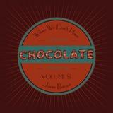 Chocolade typografisch uitstekend retro malplaatje Royalty-vrije Stock Fotografie
