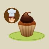 Chocolade van het dessert de zoete cupcake van de beeldverhaalchef-kok Stock Foto's