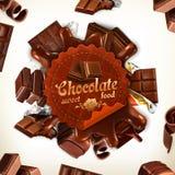 Chocolade vectoretiket stock illustratie