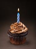 Chocolade Verjaardag Cupcake Royalty-vrije Stock Foto's