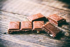 Chocolade on wooden table Stock Photography