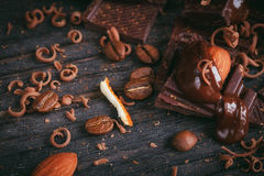 Chocoladeachtergrond Stock Afbeelding