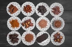 Chocoladeassortiment van ingrediënten Royalty-vrije Stock Fotografie