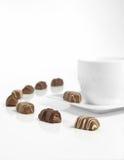 Chocoladebruine en koffiekop Stock Foto