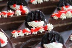 Chocoladecake en koekje Stock Foto