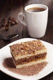 Chocoladecake en koffie Stock Fotografie