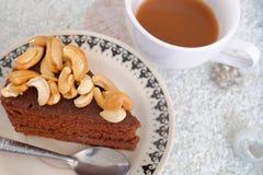 Chocoladecake en koffie Stock Foto's