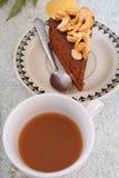 Chocoladecake en koffie Stock Afbeeldingen