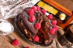 Chocoladecake en Turkse koffie - uitstekende stijl Royalty-vrije Stock Afbeelding