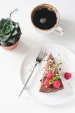Chocoladecake, kop van koffie en succulent op witte lijst stock fotografie
