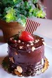 Chocoladecake met aardbeien op bovenkant, met noten wordt bestrooid die Royalty-vrije Stock Fotografie