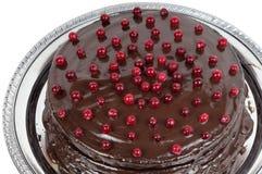 Chocoladecake met Amerikaanse veenbessen wordt verfraaid die royalty-vrije stock fotografie