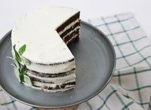 Chocoladecake met basilicumroom en passionfruit stroop Stock Afbeelding