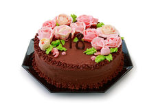Chocoladecake met boterroomrozen voor de 18de verjaardag Royalty-vrije Stock Foto