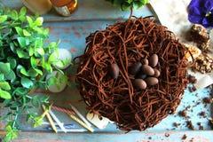 Chocoladecake met chocoladeeieren op bovenkant, met groene binnen installaties Royalty-vrije Stock Foto's