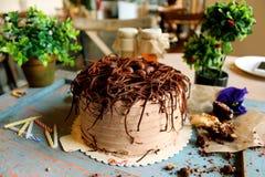 Chocoladecake met chocoladeeieren op bovenkant, met groene installaties, ca Stock Fotografie