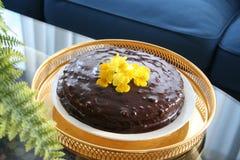 Chocoladecake met ganache Stock Foto's