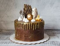Chocoladecake met merengue en gezouten karamel Stock Afbeeldingen