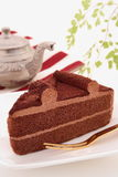 Chocoladecake met theepot Royalty-vrije Stock Fotografie