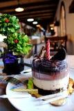 Chocoladecake met wafel en koekjes op bovenkant, met n wordt bestrooid dat Stock Afbeeldingen