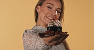 Chocoladecake voor het vieren stock footage