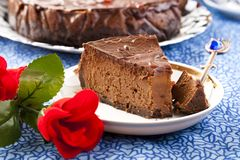 Chocoladekaastaart Stock Foto's