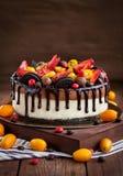 Chocoladekaastaart met verse bessen Stock Afbeelding