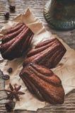 Chocoladekoekjes in de vorm van shells, Madeleine Stock Afbeeldingen