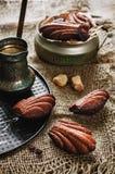 Chocoladekoekjes in de vorm van shells, Madeleine Stock Afbeelding
