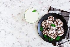 Chocoladekoekjes en een glas melk op witte achtergrond Hoogste mening Royalty-vrije Stock Foto's