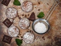 Chocoladekoekjes in gepoederde suiker Kokende koekjes met gepoederde suiker De ruimte van het exemplaar Royalty-vrije Stock Foto's