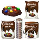 Chocoladekoekjes in velen verpakking vector illustratie