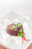 Chocoladelava met slagroom en aardbeisaus Stock Foto