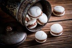 Chocolademakarons in de oude metaaldoos Stock Foto
