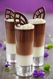 Chocolademousse met drie soorten chocolade Royalty-vrije Stock Afbeeldingen