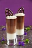 Chocolademousse met drie soorten chocolade Stock Afbeeldingen