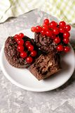 chocolademuffin met redcurrant op wit Gezond dessert Stock Afbeelding