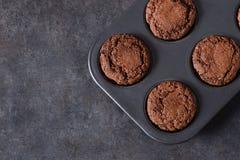 Chocolademuffins, brownies met noten en chocolade Stock Fotografie