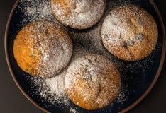 Chocolademuffins met gepoederde suiker op donkerblauwe plaat Hoogste mening royalty-vrije stock foto's