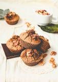 Chocolademuffins met stukken van donkere chocolade en okkernoot, tinti Stock Foto's