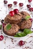 Chocolademuffins met suikerkorst stock foto