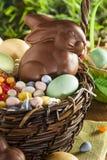 Chocoladepaashaas in een Mand Stock Afbeelding