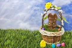 Chocoladepaashaas in mand Stock Fotografie